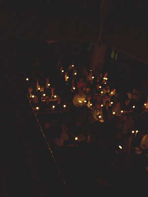 Congregation with small Easter candles