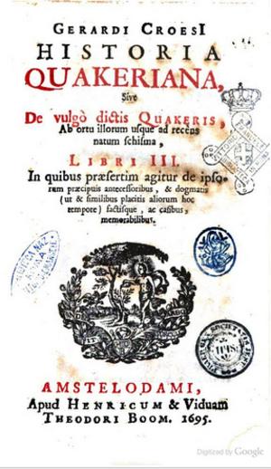Gerard Croese - Historia Quakeriana, title page