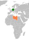 Lage von Deutschland und Libyen