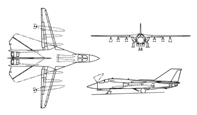 A line drawing of the F-11B showing front, top, and side view.