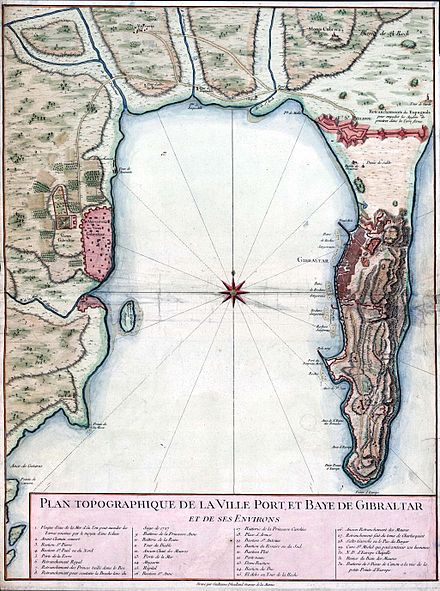 A map of the Bay of Gibraltar, c.1750, showing Algeciras (left) and Gibraltar; there is roughly 10 km (5.4 nmi ; 6.2 mi ) of open water between them. Gibraltar and Bay map 1750.jpg