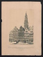 Gildehuizen op de Grote Markt, Antwerpen, met een zicht op de toren van de kathedraal
