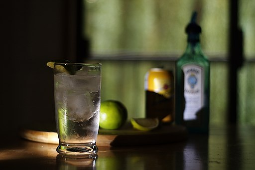Temperature-sensitive gin and tonic, with its ingredients lurking in the background (click to embiggen)