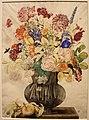 Giovanna garzoni, buffone con garofani e altri fiori su una base in pietra con pesca appoggiata, 1642-51 ca. (GDSU) 01.JPG