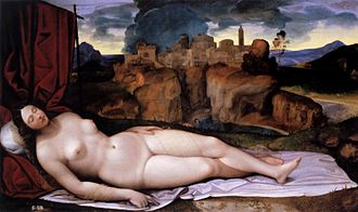 Sleeping Venus (Giorgione) - Image: Girolamo da Treviso Sleeping Venus WGA09520