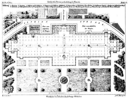 Glaspalast Muenchen Grundriss 1854