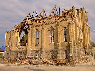 2011 Goderich, Ontario tornado - The Victoria Street United Church in Goderich following the tornado