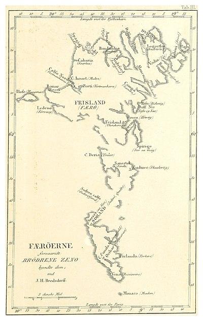 """Frisland tegnet inn ved Færøyene. Fra """"Grønlands historiske Mindesmærker"""", utg. av Det Kongelige Nordiske oldskriftselskab. British Library. Commons."""