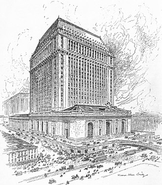 History of Grand Central Terminal - A 1911 proposal for an office building atop Grand Central Terminal