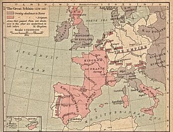 Historical map of the occidental schism