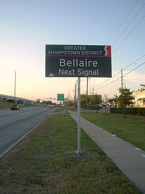 Southwest Management District - Sign stating that Bellaire Boulevard is ahead