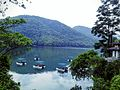 Green hills,scattered boats and Shiva Temple on Phewa lake.jpg