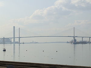 Essex - Queen Elizabeth II Bridge spanning the Thames from West Thurrock, Essex, to Dartford, Kent
