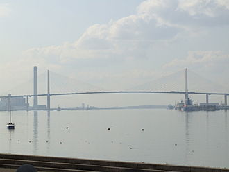 Queen Elizabeth II Bridge spanning the Thames from West Thurrock, Essex, to Dartford, Kent GreenhitheThames5346.JPG