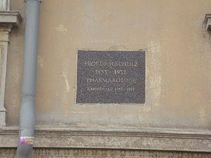 Hugo Paul Friedrich Schulz - Commemorative plaque for Schulz at Bahnhofstraße 51 in Greifswald.