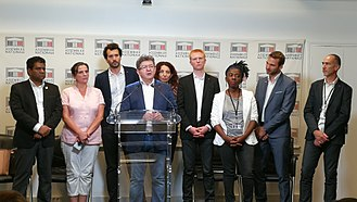 La France Insoumise group - Members of the La France Insoumise group behind Mélenchon, 2017