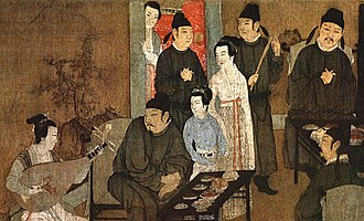 Han Chinese - A Song dynasty Chinese painting Night Revels of Han Xizai showing scholars in scholar's robes and musicians dressed in a Hanfu variant, 12th-century remake of a 10th-century original by Gu Hongzhong.