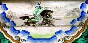 "Guan Yu - A mural of Guan Yu's ""Riding Alone for Thousands of Miles"" (千里走單騎) in the Summer Palace, Beijing."