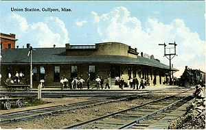 Gulfport station - Postcard of Gulfport station in early 1900s
