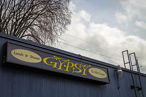 Gypsy Restaurant and Velvet Lounge - Exterior signage in 2014