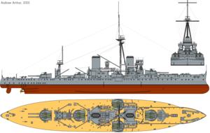 Naval warfare of World War I - Image: HMS Dreadnought (1911) profile drawing
