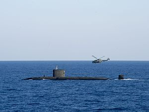 HMS Talent (S92) with Lynx in the Mediterranean Sea 2013