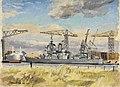 HMS Vanguard from across the Clyde, February 1946 by Stephen Bone IWM IWM LD 5784.jpg