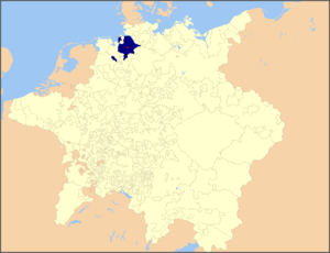 Archbishopric of Bremen - Prince-Archbishopric of Bremen within the Holy Roman Empire (as of 1648), the episcopal residence (in Vörde) shown by a red spot.