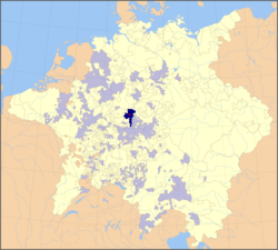 Location of Fulda and its territory in the Holy Roman Empire (1648)