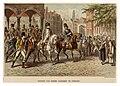 HUA-39583-Afbeelding van de intocht van keizer Napoleon te Utrecht De keizer vooraan de stoet te paard wordt door het volk toegejuicht op een plein in een gefan.jpg