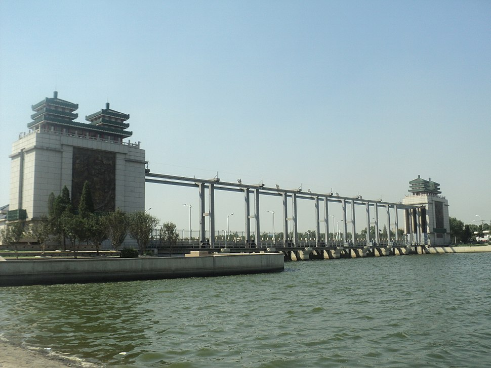 a long sluice with Chinese style roofs