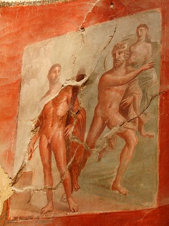Interpretatio graeca - A Roman fresco from Herculaneum depicting Hercules (from Etruscan Hercle and ultimately Greek Heracles) and Achelous (patron deity of the Achelous River in Greece) from Greco-Roman mythology, 1st century AD