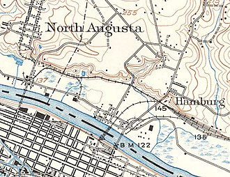 "Hamburg, Aiken County, South Carolina - Remnants of Hamburg, SC in 1921 (on the river above ""B M 122"")"