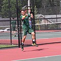 Hamzic playing home highschool tennis match in Long Branch, New Jersey 2014.jpg