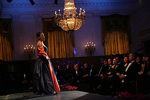Harolyn Blackwell - Soprano Harolyn Blackwell performs in the East Room of the White House during a dinner in honor of the Dance Theatre of Harlem on February 6, 2006. President George W. Bush and First Lady Laura Bush are in attendance.