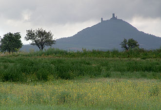 Hazmburk - Hazmburk mountain, showing the twin towers of the castle.