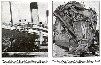 HMS Hawke (1891) - Drawings documenting the damage to Olympic (left) and Hawke (right) following their collision