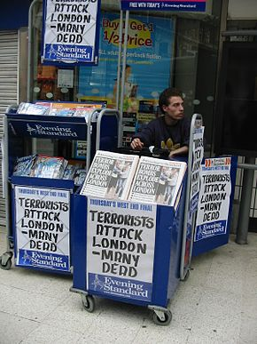 Headlines london bombing 7 july 2005 Waterloo station.JPG