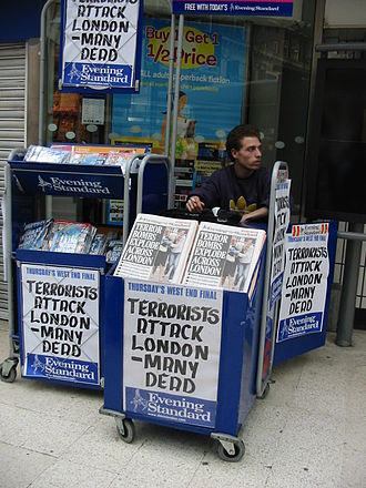 London Evening Standard - Headlines of the Evening Standard on the day of London bombing on 7 July 2005, at Waterloo station