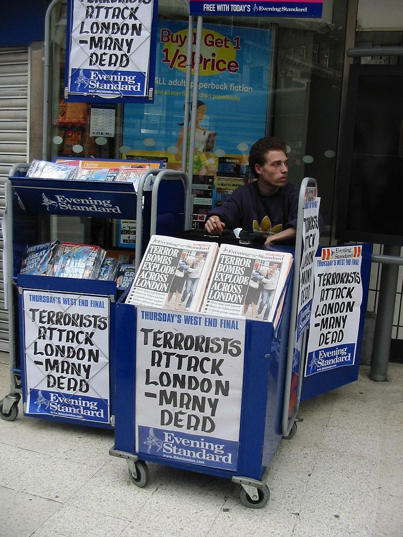 Headlines london bombing 7 july 2005 Waterloo station.JPG