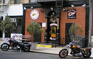 Outlaw motorcycle club - The Hells Angels MC New York City clubhouse, with many security cameras and floodlights on the front of the building