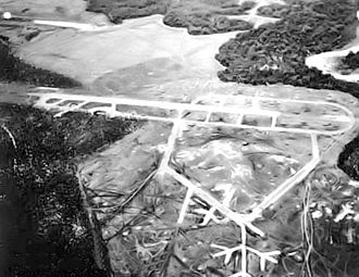Henderson Field (Guadalcanal) - Henderson Field as built up by April 1943, looking southeast to northwest