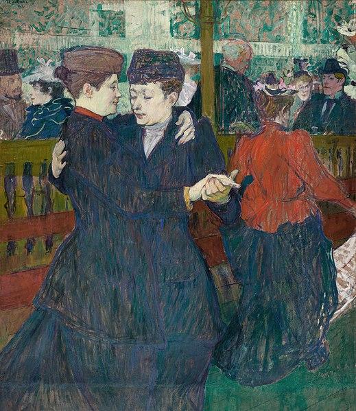 Fichier:Henri de Toulouse-Lautrec, 1892, Deux femmes dansant au Moulin-Rouge, oil on cardboard, 93 x 80 cm, National Gallery in Prague.jpg