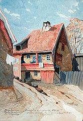 Madam Figenschous / Logihus for artister / fra Klingenberg. / Vinkelgaten No 18, også kalt \