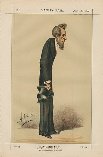 """Henry Bulwer, 1st Baron Dalling and Bulwer - """"A superannuated diplomat"""" Bulwer as caricatured by Ape (Carlo Pellegrini) in Vanity Fair, August 1870"""