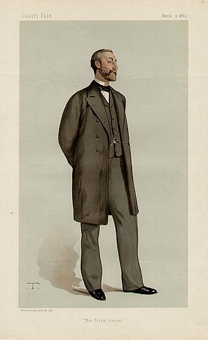 Henry Ponsonby - 'The Privy Purse'.  Ponsonby as caricatured by Théobald Chartran in Vanity Fair, March 1883