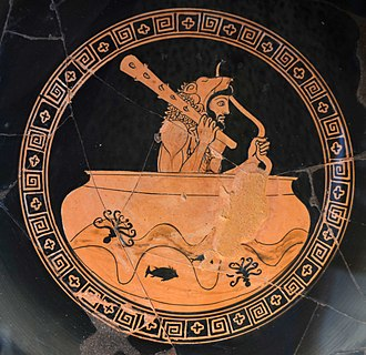 Geryon - Heracles on the sea in the bowl of Helios. Roma, Museo Gregoriano Etrusco, n. 205336.