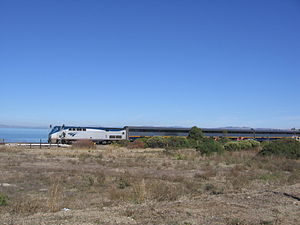 Capitol Corridor - A Capitol Corridor train passing the site of the planned Hercules Station & Terminal