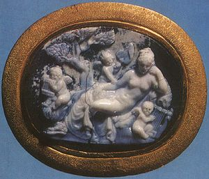 Erotes - Hermaphroditos and the erotes, onyx cameo from Alexandria, 1st century BCE. Detailed image below in an engraving.