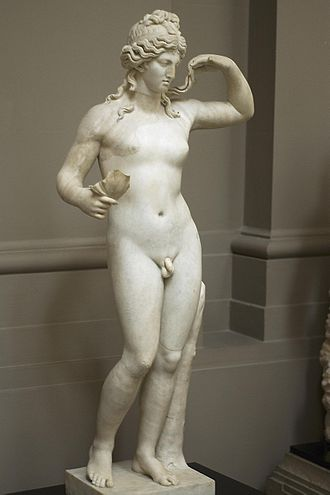"Hermaphrodite - Hermaphroditus, the ""son"" of the Greek god Hermes and the goddess Aphrodite, origin of the word ""hermaphrodite""."